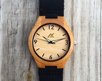 Wood Minimalist Watch, Bamboo Wooden Watch, Engraved Wooden Watch, Handmade for Men Women, Minimalist Design, Groomsmen Gift, Gift for Him