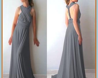 Maxi gray  bridesmaid dress with tube top Infinity dress