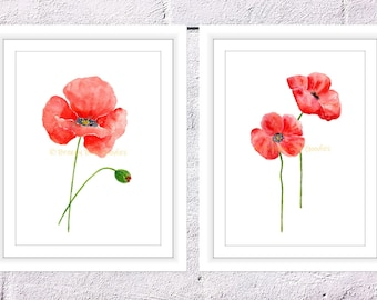Set of 2 Poppy Flowers Print, Watercolour Poppy Flower, Red Poppies, Flower Wall Decor, Poppy Painting, Red Poppy Flower, Mothers Day Gift