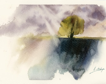 Abstract Landscape Original Watercolor Painting, Abstract Nature Painting, Abstract Realism Watercolour Painting Art