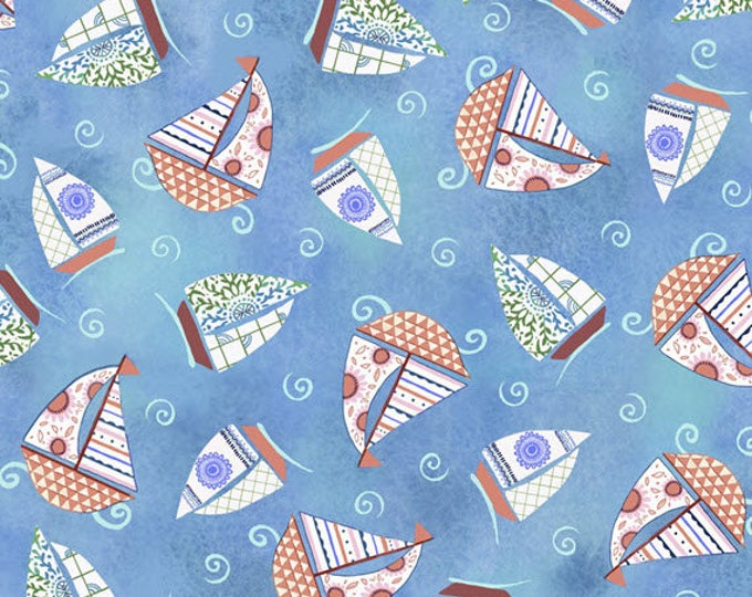 DREAM BOATS - Sailboat Toss in Blue - Sailboats Boat Boats - Cotton Quilt Fabric - Quilting Treasures Fabrics - 24344-B (W4059)