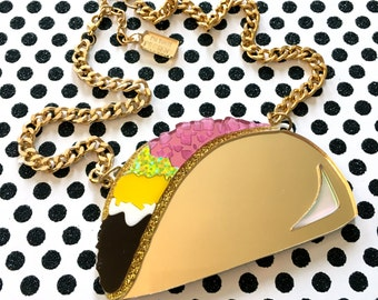 Taco Large Food Mirrored, Laser Cut Acrylic, Plastic Jewelry