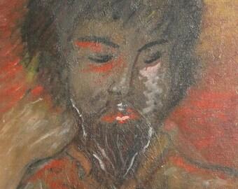 Vintage oil painting expressionist portrait signed