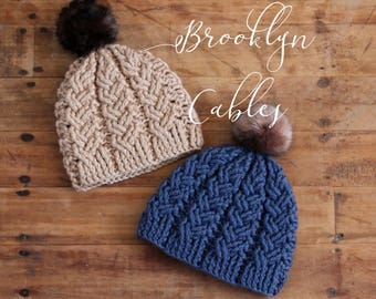 "Crochet Cable Pattern ""Brooklyn Cables Beanie"" chunky yarn crochet pattern, chunky cables, beanie, hat PDF PATTERN ONLY"
