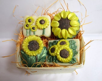 Sunflowers Soap in Berry Basket Handcrafted Cold Process Soaps FREE SHIPPING!