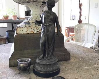 Spelter Statue 15 inches antique European goddess french country