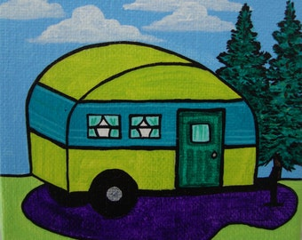 whimsical camper, adventure art, travel trailer, vintage camper, acrylic painting, small artwork, nature illustration, colorful campers art
