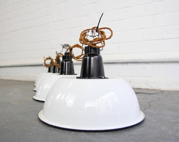 White Enamel & Bakelite Soviet Factory Lights Circa 1950s