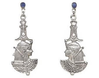 Vintage Egyptian Earrings, Cleopatra, Sterling Silver, Lapis Lazuli, Vintage 1950s