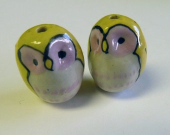 Yellow  Hoot Owl Beads