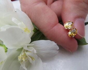 Citrine Studs, Sterling Silver Earrings, Semi-precious Gemstone Studs, November Birthstone Earrings, November Birthstone Studs, 6 x4 mm Oval