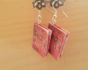 Book Earrings / Burn Book Earrings / Mean Girls Earrings / Burn Book Jewelry / Mean Girls Jewelry / Handmade Book Earrings / Gift for Her