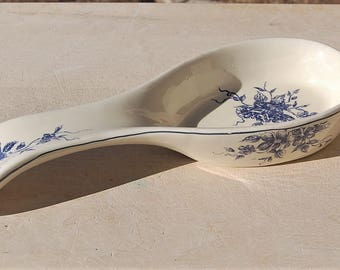 Blue Toile Spoon Rest Ceramic