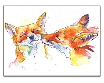 Smoochy foxes print from original fox watercolour as fox wall art