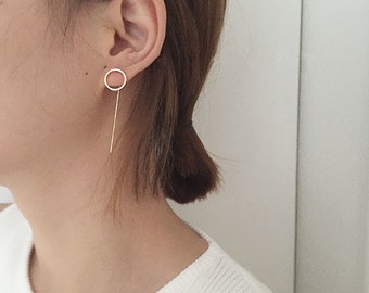 Earring, minimalist, asymmetry, circle/triangle earrings, gold jewelry,