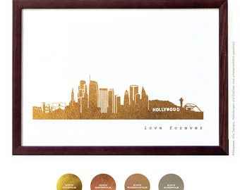 Gold LOS ANGELES artwork, Minimalist City Art Print, LA California skyline, honeymoon custom gold poster, wall decor home office decor