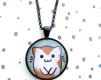 Cute Cat Necklace, Kitty Pendant, Catfish Jewelry, Cat Jewelry, Calico Necklace, Kawaii Fashion, Fun Accessories
