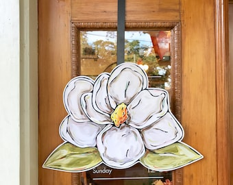 Magnolia Door Hanger: New Orleans Door Hanger, Southern Art, Pretty Door Hanger, Made in New Orleans, New Orleans Art, Wholesale Door Hanger