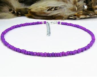 Purple Beaded Choker, Seed Bead Choker, Choker Necklace, Seed Bead Necklace, Boho Chic Choker, Purple Choker Necklace, Beach Choker, Chokers
