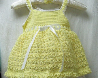Yellow Summer Sundress with Petticoat Attached, Baby Yellow Easter Dress, Yellow Easter Dress, Yellow Summer Dress, Special Occasion Dress