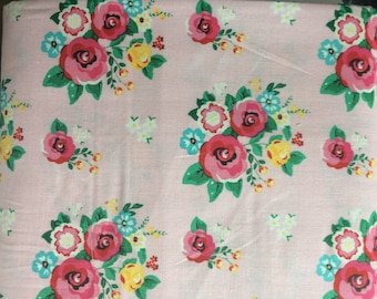 Riley Blake Happiness is Handmade Floral Roses On light pink Quilting Cotton Fabric BTY