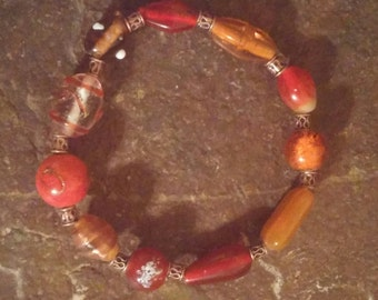 orange glass beaded stretch bracelet