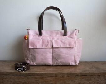 Waxed canvas bag, 11 pocket diaper bag, Waxed canvas diaper bag, Waxed canvas tote, Canvas tote bag, Leather canvas bag, Baby Pink
