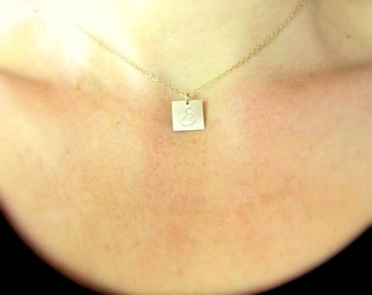 Square Initial Charm Necklace | Gold Letter Jewelry | Hand Stamped Simple Delicate Pendant by E. Ria Designs