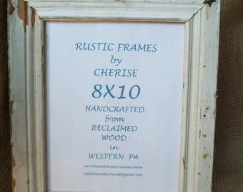 Rustic Reclaimed Wood White Chipped Paint Picture Frame 8X10 with Metal Star Decoration