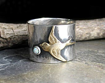 Bird ring wide band sterling silver opal ring nature jewelry garden jewelry swallow - Dream Chaser