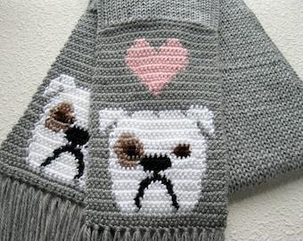 English Bulldog Scarf. Grey crochet scarf with white bulldogs and pink hearts. Knit bulldog scarf. Bulldog gift