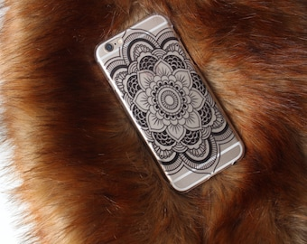 Black Henna Flower Floral Transparent Soft Phone Case For iPhone 5 5S 6 6S 7 8 Plus Samsung Galaxy S6 S7 Edge