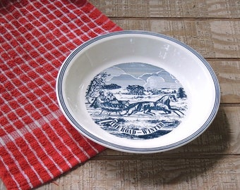 Currier and Ives The Long Winter Pie Plate Ca. 1970s