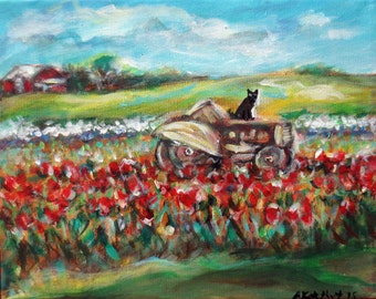 Black cat tractor tulips farm field original cat painting