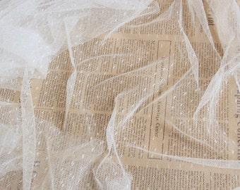off white mesh Lace Fabrics,  dots Gauze , wedding Mesh. tulle lace fabric