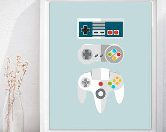 Gamepad Icon Set, Video Game Poster, Video Game Art Print , Gaming Poster, Video Game Art, Video Game Wall Art, Game Poster-INSTANT DOWNLOAD