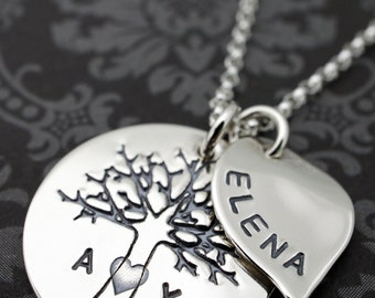 Personalized Family Tree Necklace w/ Small Leaf Charm - Tree of Life w/ Family Initials - Sterling Silver Jewelry by EWD
