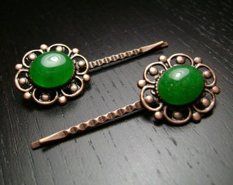 CLEARANCE !!! Victorian Antiqued Copper Bobby Pin Set with Green Agate Cabochons
