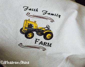 Tea Towels - Faith Family Farm Tractor - Country Western Kitchen Decor - Embroidered Cotton - Farmhouse Kitchen Decor - Flour Sack Towels