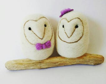 Made to order any colour theme. Felted owl wedding cake topper bride groom. Barn owl. Shabby chic, vintage wedding