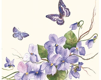 Decoupage napkins (x4) - Vintage butterflies and flowers