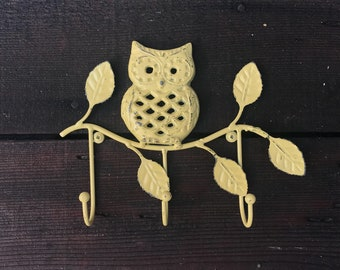 Wall Mounted Key Rack Cast Iron Owl Hook, Owl On Branch Decorative Towel Wall Fixture, Hand Painted Yellow Distressed, Item #587368202