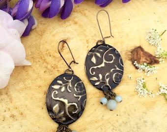 Embossed Leaves Brass Earrings