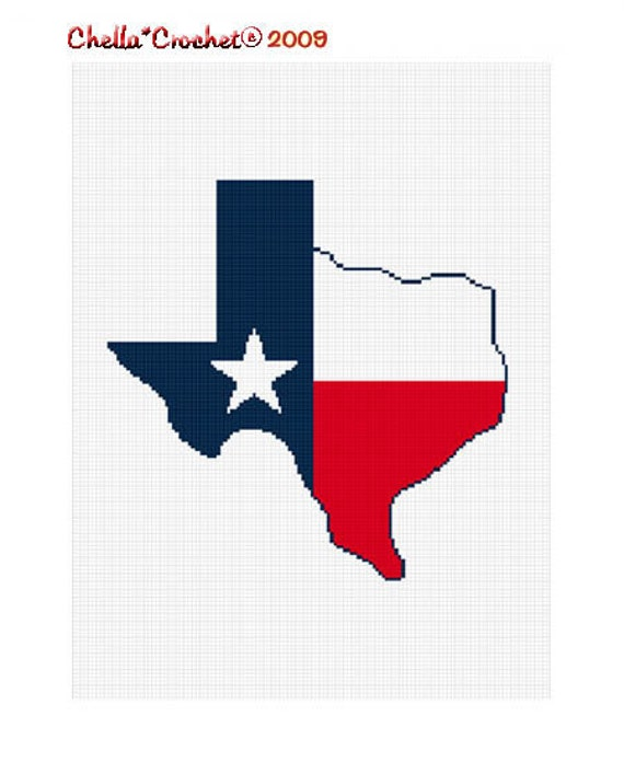 Instant Download Texas Shaped Flag Star Afghan Crochet Pattern