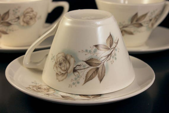Mount Clemens Cups and Saucers, Brown Rose, Hard to Find Pattern, Floral Pattern, Set of 3, Tea Cups, Coffee Cups