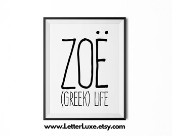 Zoë Name Meaning Art - Printable Baby Shower Gift - Nursery Printable Art - Digital Print - Nursery Decor - Typography Wall Decor