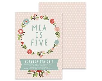 Printable Birthday Invitation | Speckle | Printable DIY Invite, Affordable Invitation, Digital Invite, Girl's Invite, 5th Birthday