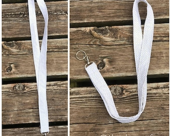 White With Gold Polka Dots Lanyard