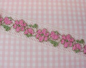 Pretty Little Pink, Green and White Embroidered Net Lace Trim
