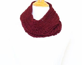 Crochet cowl, infinity scarf, knit cowl, crochet neckwarmer, loop scarf, infinity loop, crochet scarf, red cowl,